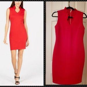 Calvin Klein Red Ruffled Collar Sheath Dress